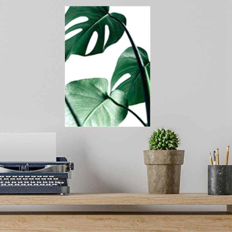 No Frame Wall Pictures Watercolor Tropical Plant Leaf Canvas Art Print Poster Nordic Green Plants Rural Posters Home Decoration
