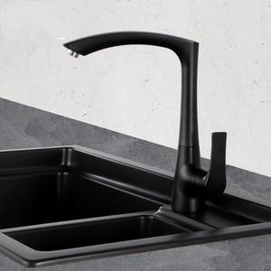 Матовый черный белый современный кухонный смеситель для раковины, смеситель с одним отверстием, черные латунные краны с поворотной дугой и ...
