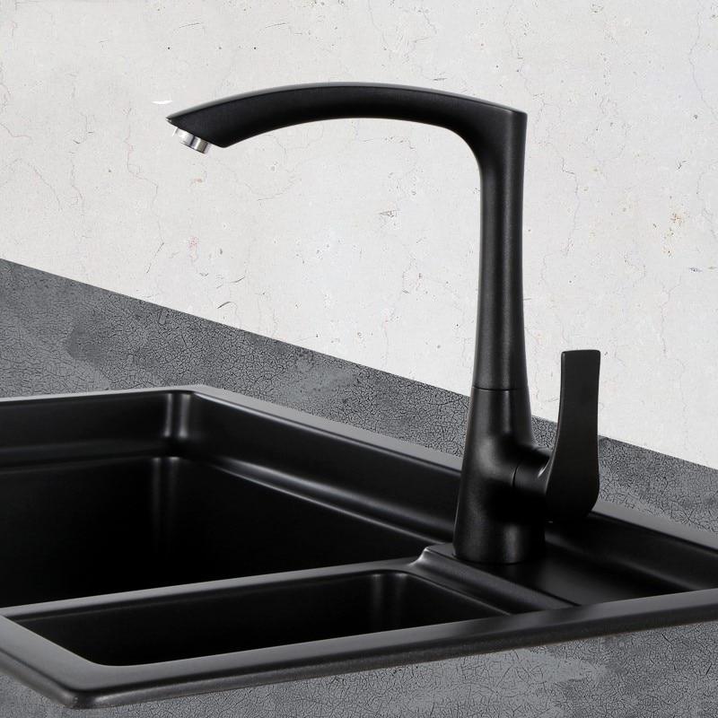 matte black white modern kitchen sink faucet mixer tap single hole black brass taps with swivel arc square spout