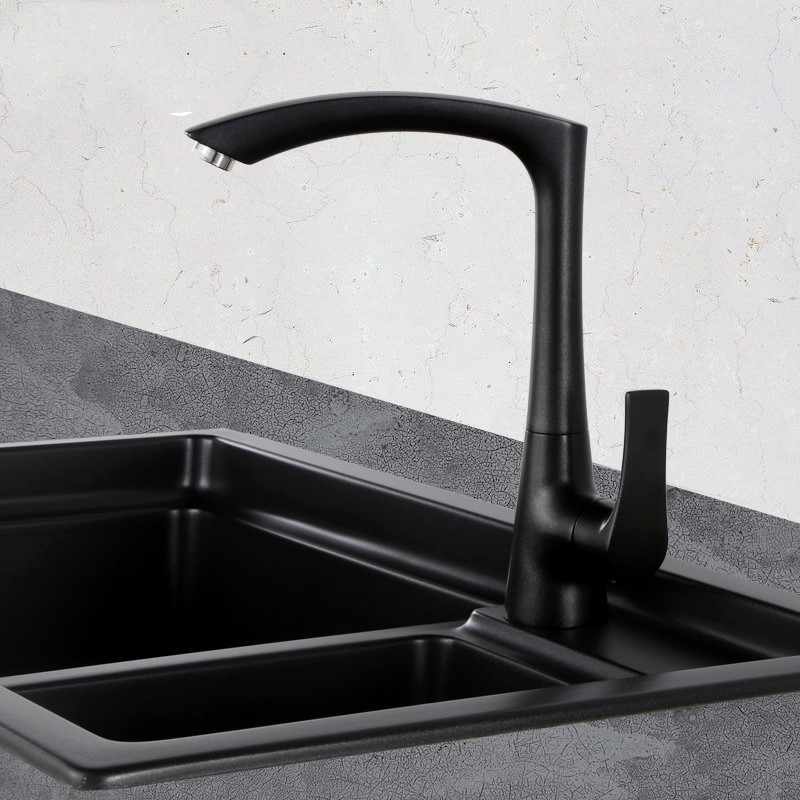Matte Black white Modern Kitchen Sink Faucet Mixer tap Single Hole Black Brass Taps With Swivel Arc Square Spout