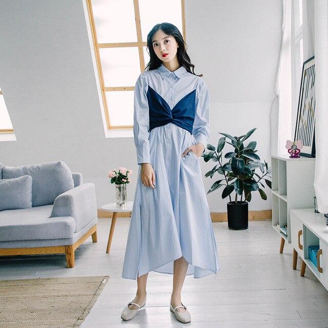 a3d5ba592fc ... Korean Clothes Fake 2 Piece Patchwork Bustier Crop Top Tie Belt High  Waist Long Sleeve Irregular ...