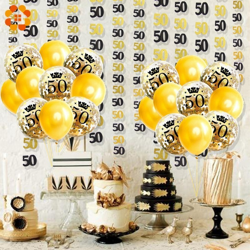 18 30 40 50 Year Old Confetti Balloon Paper Garland DIY Hanging Pendants Party Ballons Anniversary Birthday Decorations