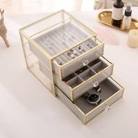 desktop glass collection box jewelry box tidy drawer cosmetics storage box drawer organizer bead storage containers