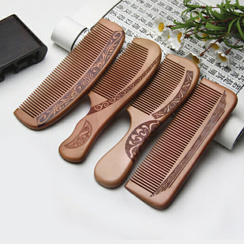 1pcs Natural Peach Solid Wood Comb Engraved Peach Wood Healthy Massage Anti Static Comb Hair Care Tool Beauty Accessories Combs  - AliExpress