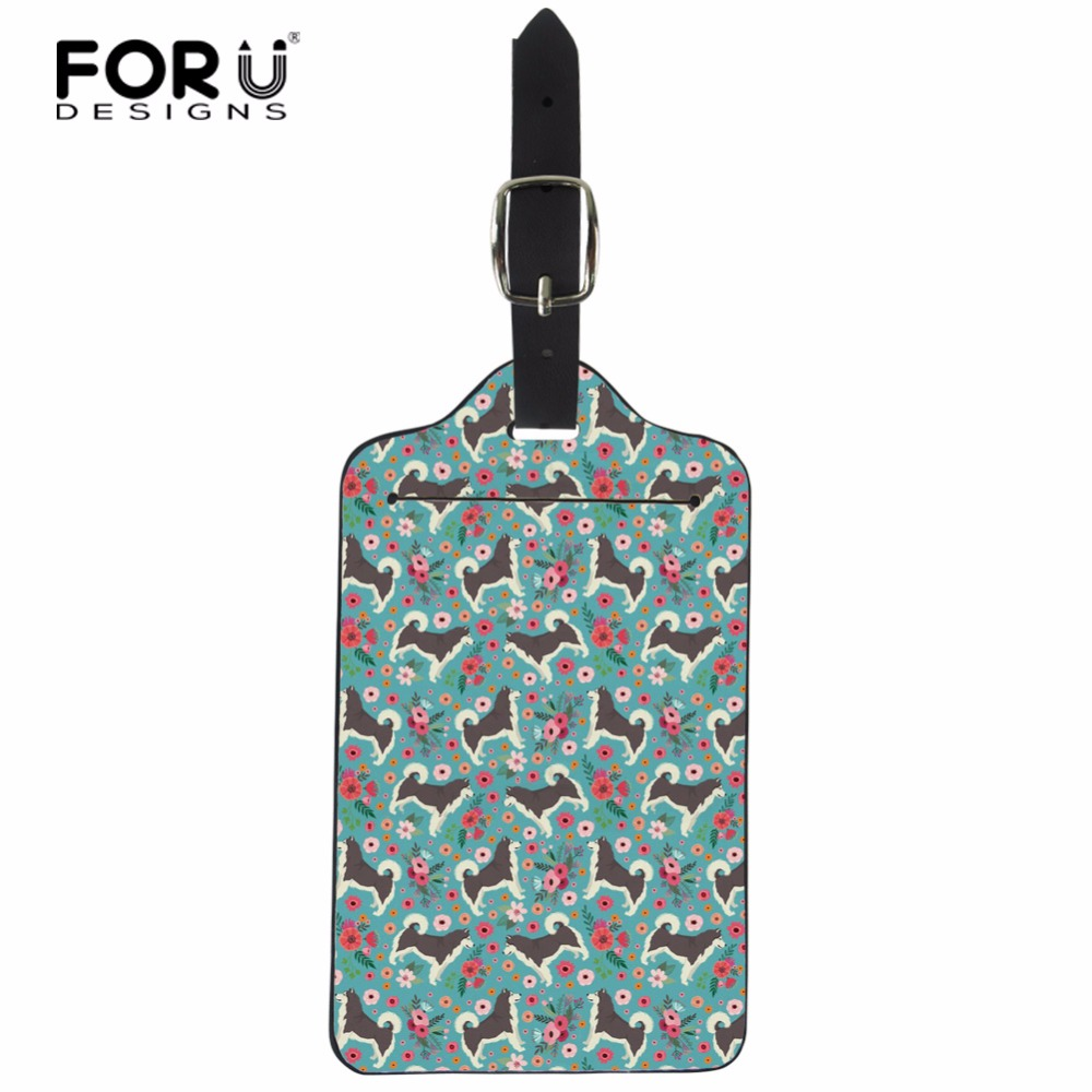 FORUDESIGNS Luggage Tags PU Leather Passport Tags ID Address Holder Travel Luggage Label Alaskan Malamute Travel Accessories
