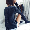 Fashion Knitted Sweater Womens Ladies Casual Knit Warm Sweater Pullovers Solid Top With Back Bandage