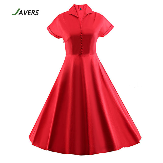 fcdd29ef084  JAVERS  Women Classic 50s 60s Vintage Shirt Dress Women Retro Rockabilly  Christmas Celebrity Pin Up Big Swing Party Dress Red