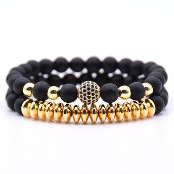 2PCS/Set Hematite Natural Stone Bracelet2