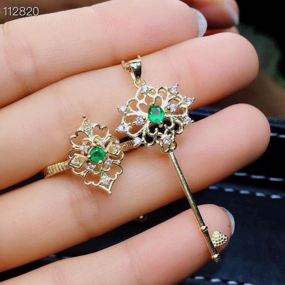 Natural verde esmeralda S925 Conjunto Pingente anel de prata Jóias de pedras preciosas naturais Restaurar Esvaziamento chave Adorável party girl jewelry