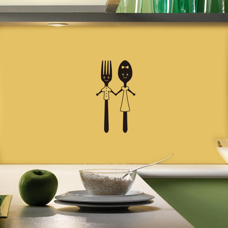 Cute Knife And Fork Tool Wall Sticker For Dining Table Restaurant Home Decoration Art Decals Tableware Stickers Wallpaper