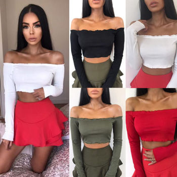 Hirigin 2017 Sexy Women Off Shoulder Ruffled Crop Summer Long Sleeve T-Shirts Casual Autumn Warm Outwear Clothes Solid Color