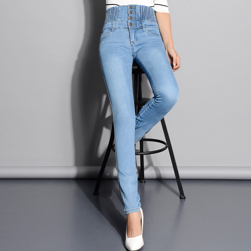 New Women autumn high waist buckle waist wild slim jeans female feet pencil pants wild stretch women thin denim trousers S2464