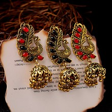 TopHanqi 2019 Unique Birds Shape Indian Jhumka Earrings For Women Girls Bohemian Ethnic Vintage Big Bells Drop Earring Jewelry