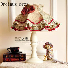 European pastoral village desk lamp Restaurant bedroom Bedside Lamp American Retro cotton lace decoration lamp free shipping(China)