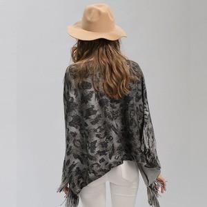Image 5 - New Female Warm Scarf Tiger Head Print Silver Wire Shawl Wrap Cashmere Feel Poncho Cloak Womens Autumn Winter Warm Capes Coat