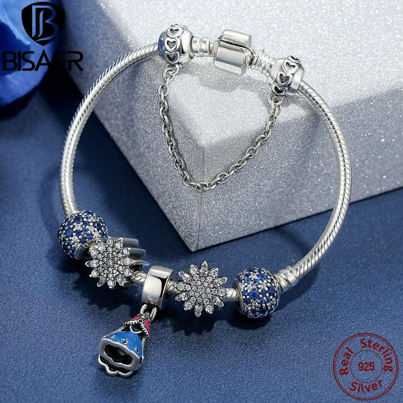 925 Sterling Silver Snake Safety Chain Link Femme Snowflake Bracelet & Bangle Valentine Princess Charm Bracelet for Women Gift цены