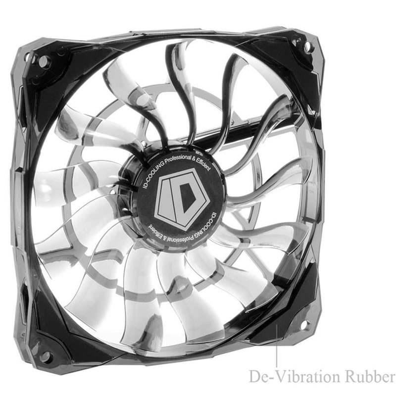 ID-Cooling NO-12015 Slim 15mm Thickness 4pin 12cm Controlled PWM fan mini Case Large Airflow 53.6CFM With De-vibration Rubber original delta tfc1212de 12cm 12038 12v 3 9a 252cfm winds of booster pwm fan violence for bitcoin miner super cooling