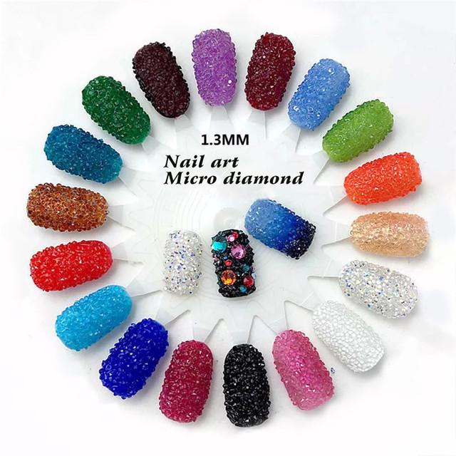 New 1440Pcs Micro Diamond DIY Nails Rhinestones Crystal Flat Back Non Hotfix Rhinestones Need Glue Nail Art Decoration Cosmetics