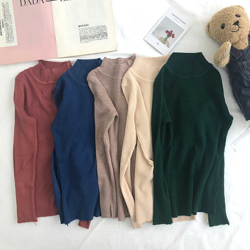 Suéter y pulóveres de mujer alto elástico sólido Top 2018 Otoño Invierno moda suéter mujeres Delgado Sexy cuello redondo coreano de punto de algodón