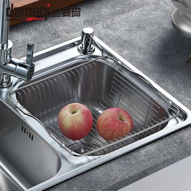 Stainless Steel Sink Drain Basket Drain Vegetables Baskets Trays Basket  Rack Kitchen Accessories