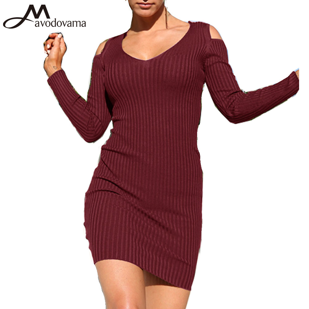 Avodovama M Spring Fashion Women Long Sleeve Bodycon Dresses 4 Colors Bandage Sexy V Neck Knitted Solid Mini Dress forefair fashion slim knitted party dresses women clothing 2018 spring long sleeve sexy criss cross v neck bodycon dress vestido