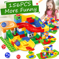 156PCS Marble Race Run Maze Ball Track Building Blocks Plastic Funnel Slide Big Size Bricks Compatible LegoINGlys Duplo Blocks