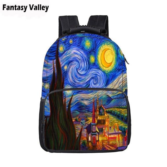 c95b1f1b7b7 Oil Painting Starry Night Backpack Women Men Travel Bags Laptop Backpack  Boys Girls Children School Bags Kids Book Bag Gift