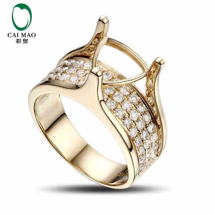 CaiMao Trillion cut Semi Mount Ring Settings & 0.81ct Diamond 14k Yellow Gold Gemstone Engagement Ring Fine Jewelry