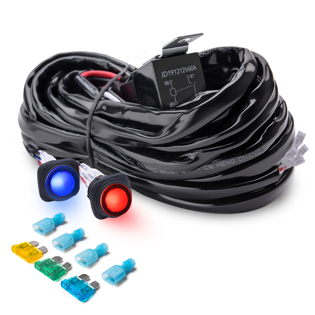 mictuning heavy duty 300w 2 circuit led light bar wiring harness kit on  dual amp fuse