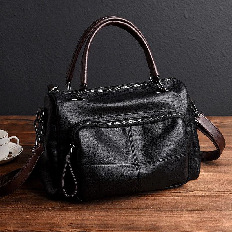 Высококачественные модные женские сумки из натуральной кожи, винтажные сумки через плечо из мягкой овчины, женские сумки тоут|Сумки с ручками| | АлиЭкспресс