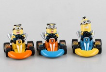 3 styles Pop Anime Despicable Me 2 Minions Kart PULL BACK Cars Action Figures PVC Minion Toys With Cars