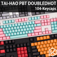 taihao pbt double shot keycaps for diy gaming mechanical keyboard color of miami diablo black orange cyan rainbow light grey