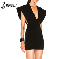 INDRESSME Casual Fashion Deep V Mini Solid Black Summer Women Lady Bandage Dress Femme Vestidos 2017