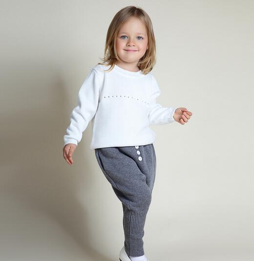 Bebé de Invierno de Punto Inglaterra Styel Pantalones Fleece Lining Warm Simple Encuadre de cuerpo Entero Pantalones Ropa Al Por Mayor El Envío Libre