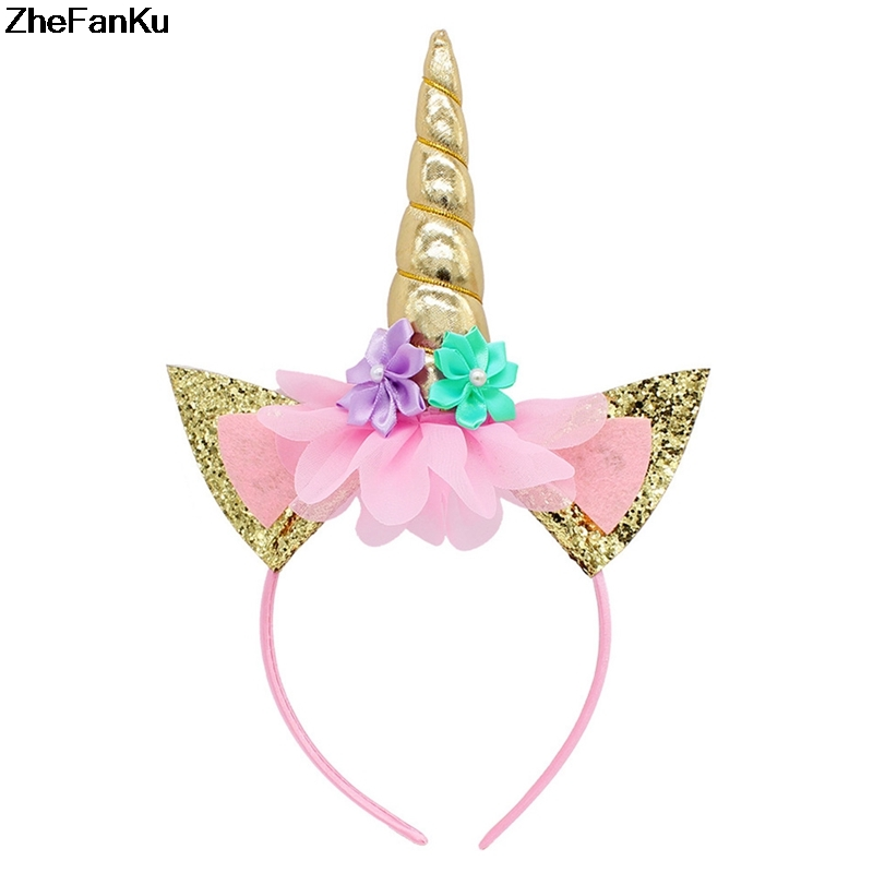 1pc Gold Unicorn Headband Handmade Kids Party Horn Gold Glittery Beautiful Headwear Hairband Hair Jewelry Gold/silver Moderate Price