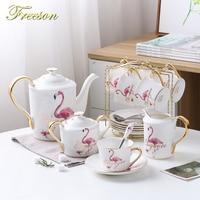 Ev ve Bahçe'ten Kahve Takımları'de Moda Flamingo Kemik Çini Kahve Seti Porselen çay seti seramik saksı Kremalı şekerlik Çay Saati Demlik Kahve Fincan Çay Bardağı