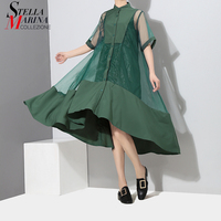 New 2019 Korean Style Two Pieces Set Women Summer Patchwork Green Midi Mesh Dress With Vest Female Party Dresses Robe Femme 2564