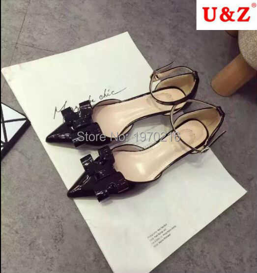 54c43fdc425 small Size 36 !Glossy black patent leather handmade bow detailed ...