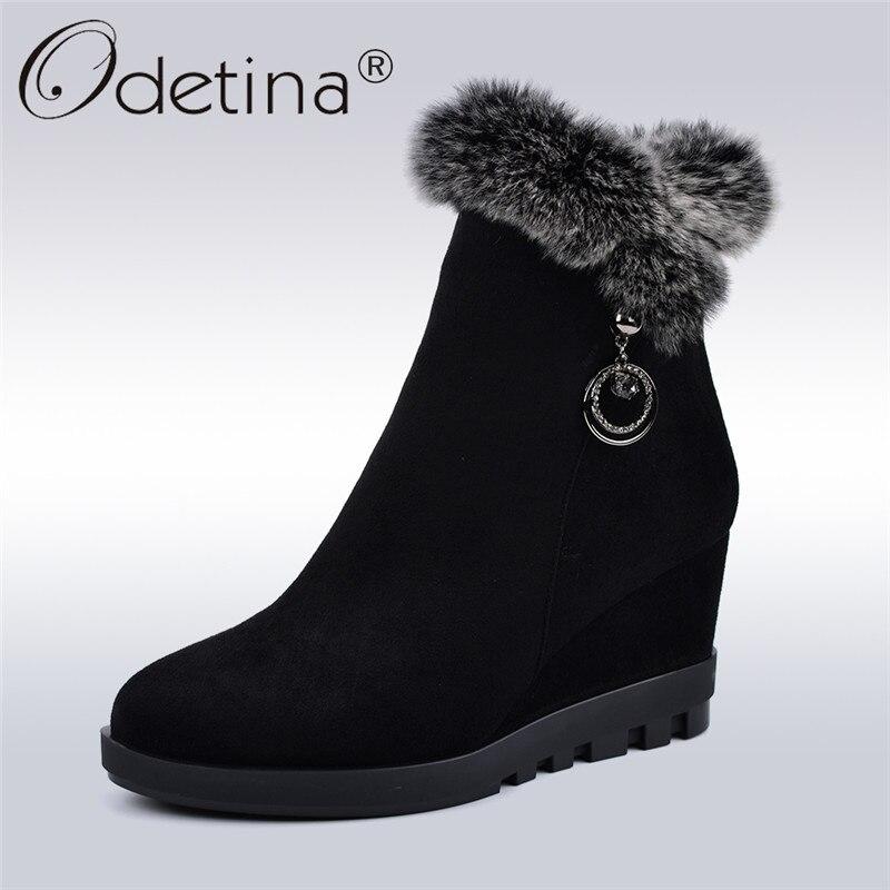 97174aa89d6 Pelo Con Cuña Moda Nieve Invierno Botas Mujer Cálido Altos Tobillo Felpa  Tacones Lujo De Zapatos Nueva Negro Conejo Zip ...