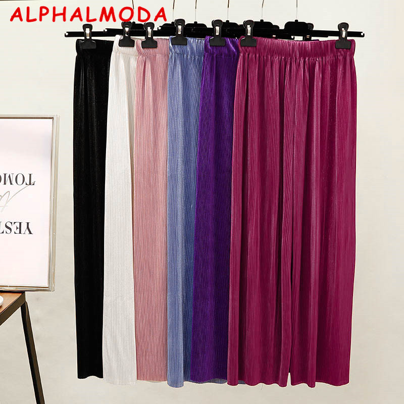 242096a83 Detail Feedback Questions about ALPHALMODA 2018 Summer Women's Solid Color  Pleated Wide Leg Pants High Waist Female Fashion Pants on Aliexpress.com ...