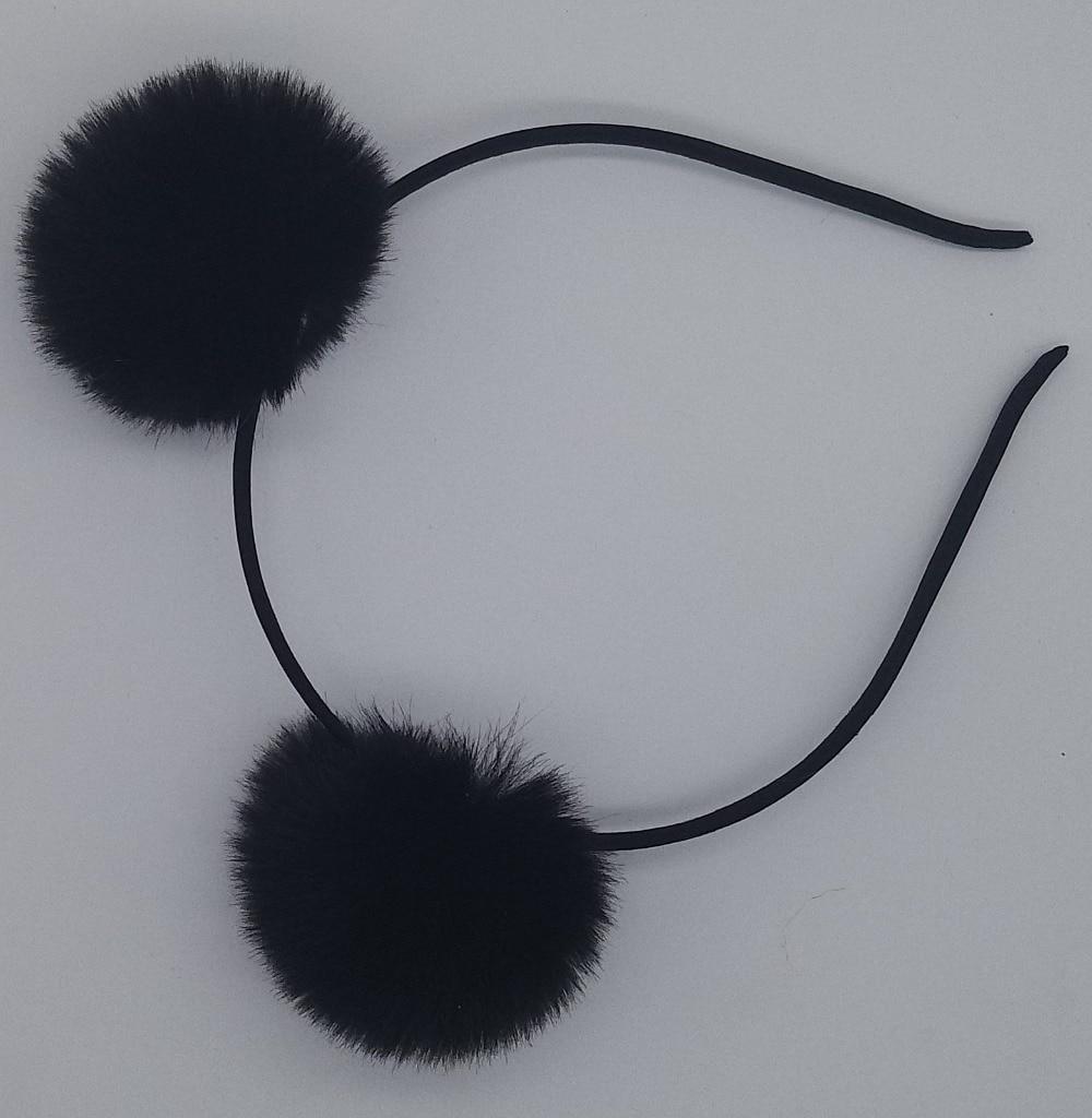 Sweet Pom Fur Ball Furry Ears Fluffy Rabbit Fur Headband Ball Women/'s Hair Band