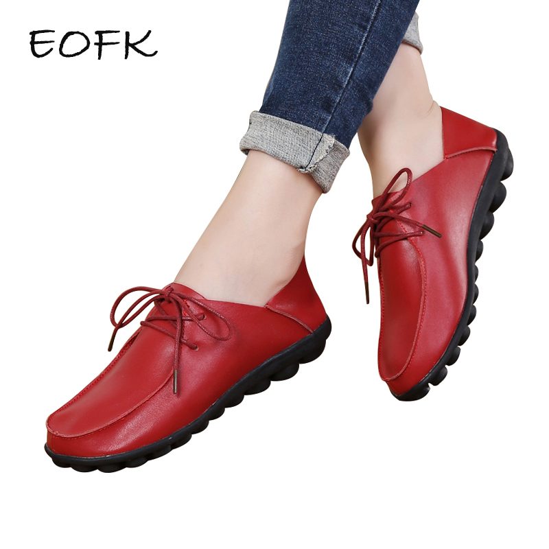 EOFK 2019 Spring Autumn Shoes Woman Genuine   Leather   Shoes Women Flats Casual Soft Comfortable Red Shoes Zapatos Mujer