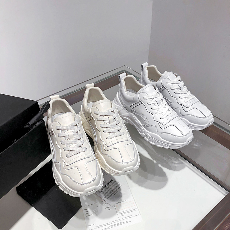 Shoes Woman 2019 Sneakers Women Leather White Casual Shoes 5cm in Women 39 s Vulcanize Shoes from Shoes