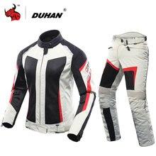 DUHAN Femmes Moto Veste + Moto Pantalon D'été Respirant Moto Costume Gris Racing Veste Moto Veste Blouson Moto