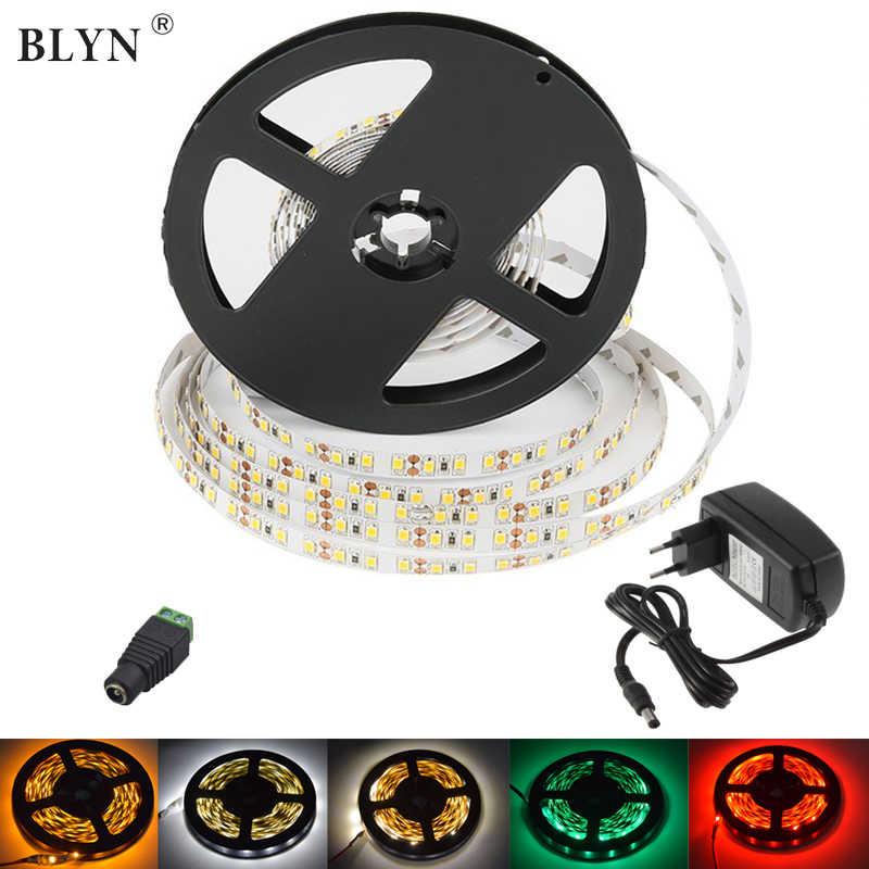 Tira de LED de 10 M 15 M 60 LED/M impermeable cinta de diodo cuerda luz 2835 blanco cálido rojo azul verde color amarillo 12 V 2A 3A 5A adaptador LED