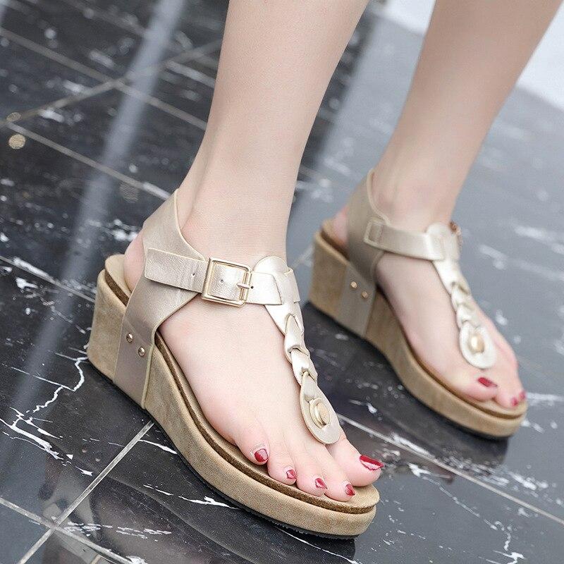 Siketu été femmes sandales mode femme plage chaussures talons compensés chaussures à plate-forme confortable Peep Toe chaussures talons hauts