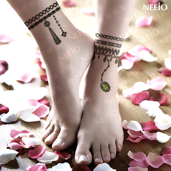 2 Temporary Tattoo Emerald Jewelry Anklets Gem Waterproof Women