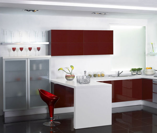 US $2800.0 |Dark red kitchen cabinet-in Kitchen Cabinets from Home  Improvement on AliExpress