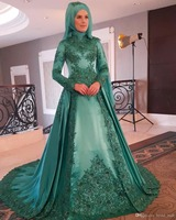 Custom Made Muslim Red Evening Dress Flowers Ball Gown Long Sleeves Prom Dress High Neck Formal
