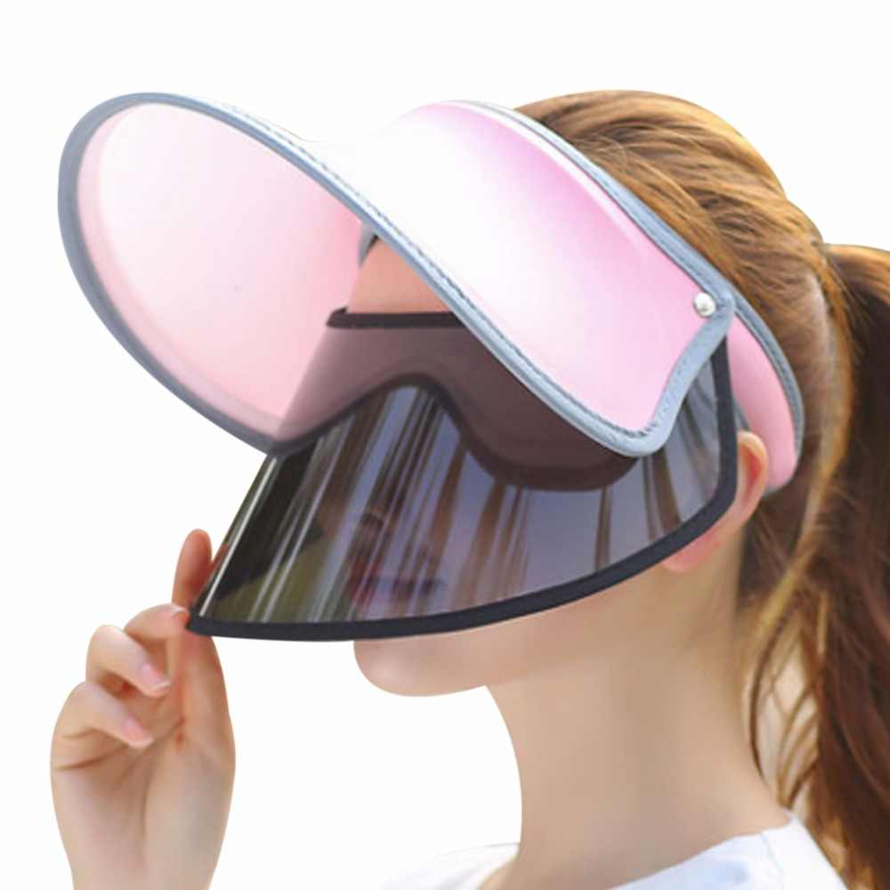 962c149abb3 2018 New Double UV Sun Hat Women Visor Summer Outdoor Sun Empty Top Cap  Female Solid